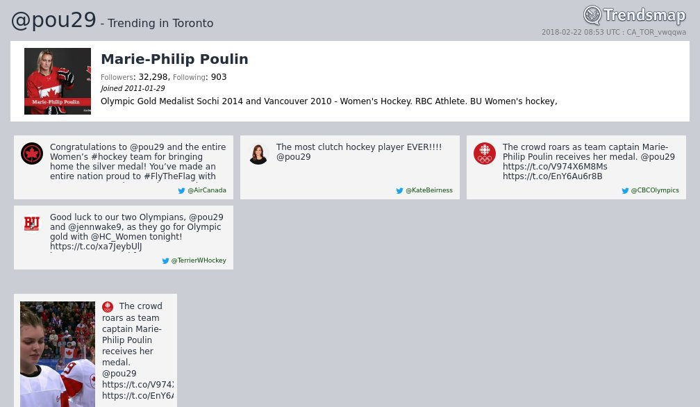 Marie-Philip Poulin, @pou29 is now trending in #Toronto  https://t.co/qRHVXK3AVt https://t.co/4VUIAWCEoe