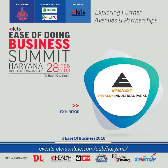 test Twitter Media - Elets Ease of Doing Business Summit - Haryana welcomes Embassy Industrial Parks as Exhibitor  Visit: https://t.co/AFZVv0di9W   #EaseOfBusiness2018  @cmohry  @Industrieshry @DIPPGOI https://t.co/ZLRSBE4vOt