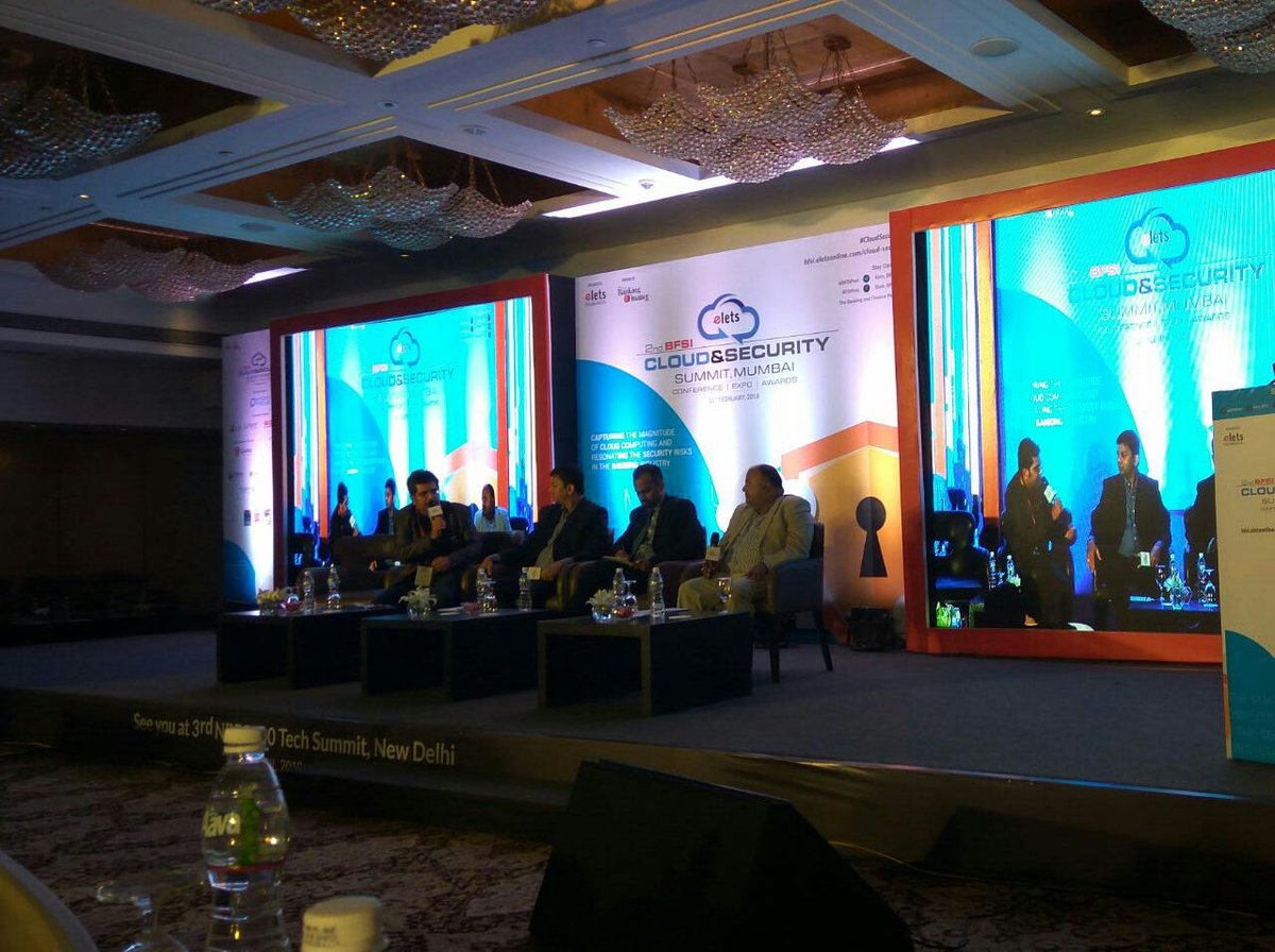 "test Twitter Media - Panelists participating in a discussion on ""#Blockchain Technology: Evolution of BlockChain Technology in New Age Banking"" at 2nd #BFSI Cloud & Security Summit, #Mumbai. @kvdipu @SudinBaraokar @LoharPrasanna @krcmurty https://t.co/nMiRgx2S8U"