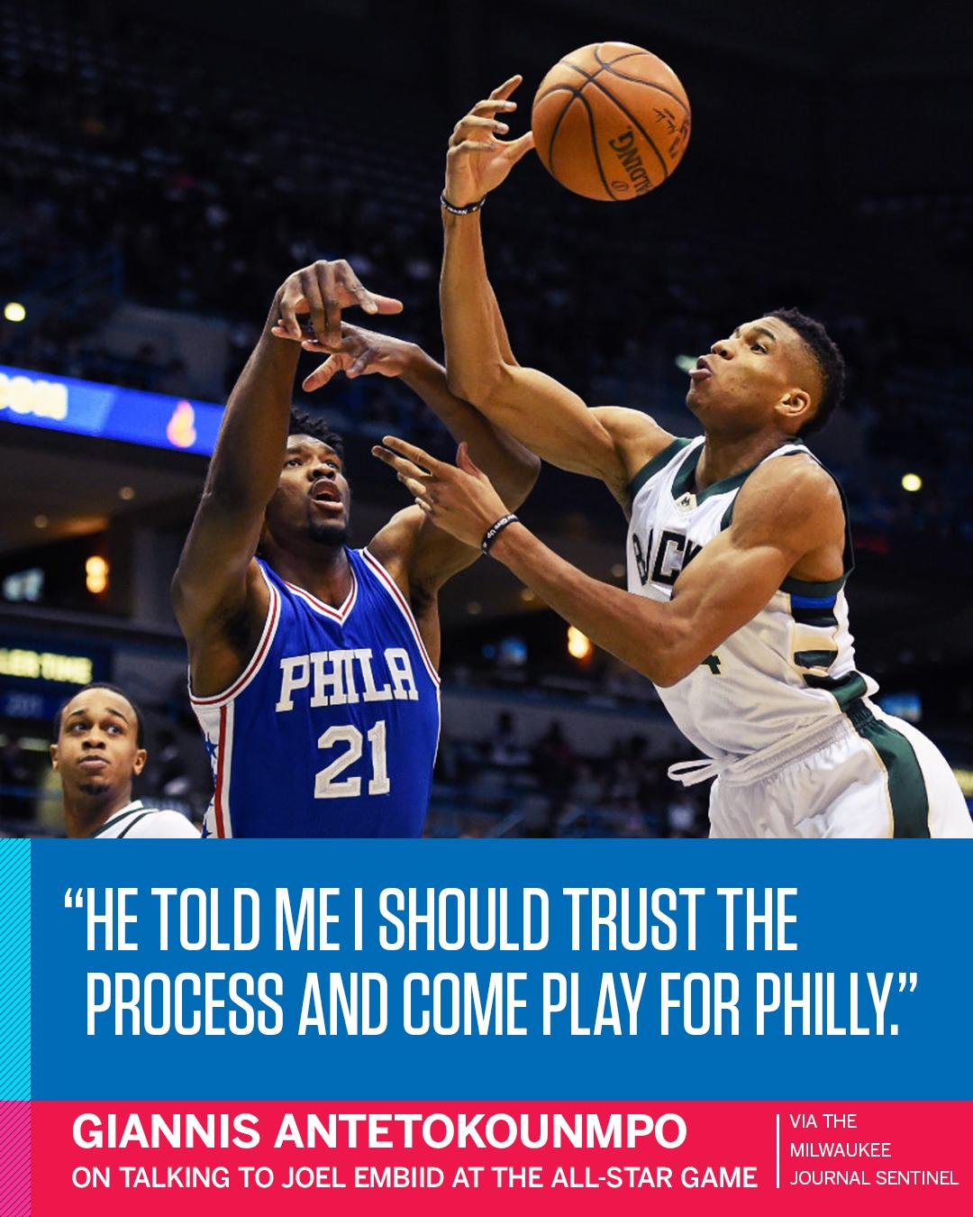 Embiid wants the Process to include Giannis. https://t.co/nhsPCtf5oM