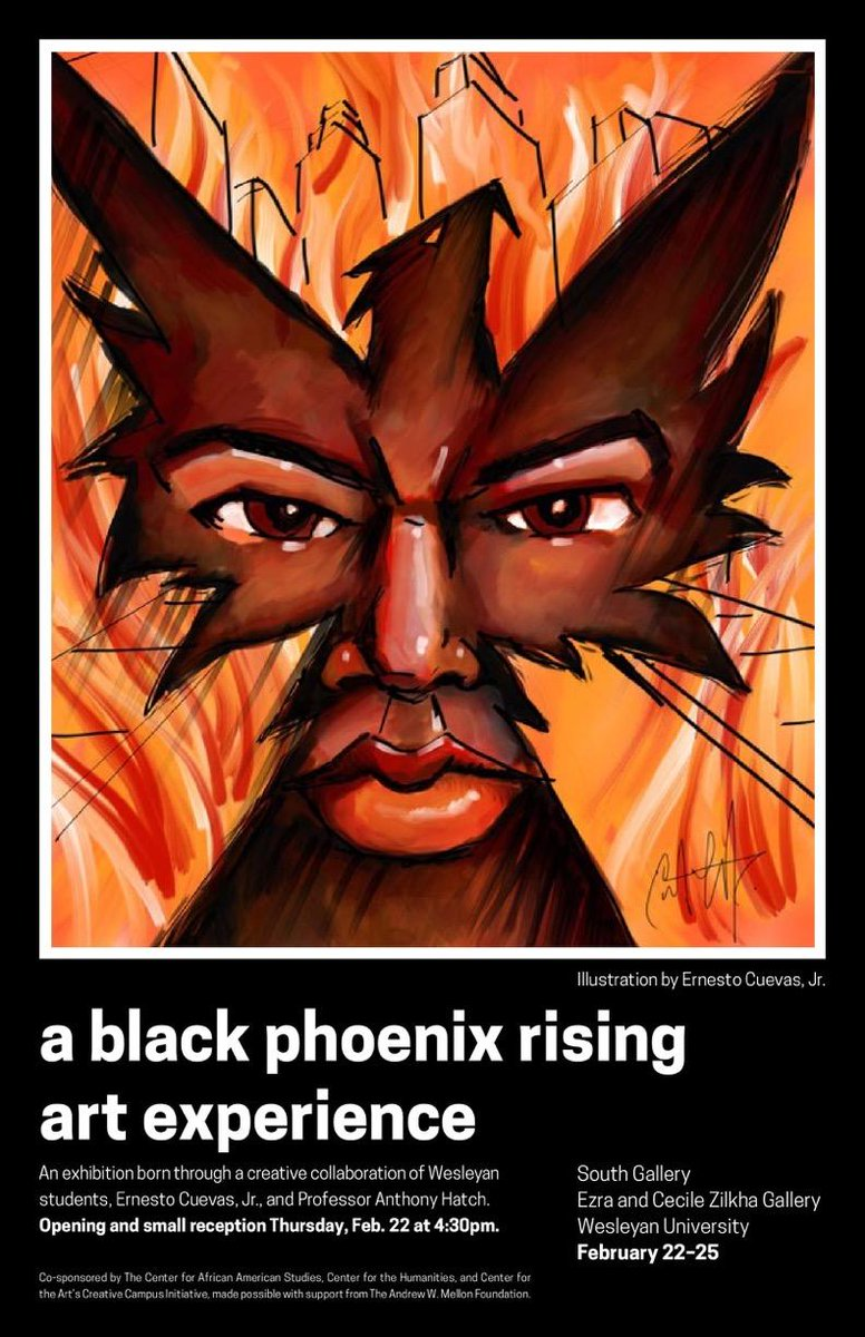 "test Twitter Media - Today 4:30pm in Zilkha: A Black Phoenix Rising Art Experience opening. This collaboration between Wes students, Prof Anthony Hatch, and @ernestocuevasj ""explores black people's ways of resisting material and symbolic death in American life and culture."" https://t.co/Yv8nZtVLc9 https://t.co/lT5VptHUGJ"