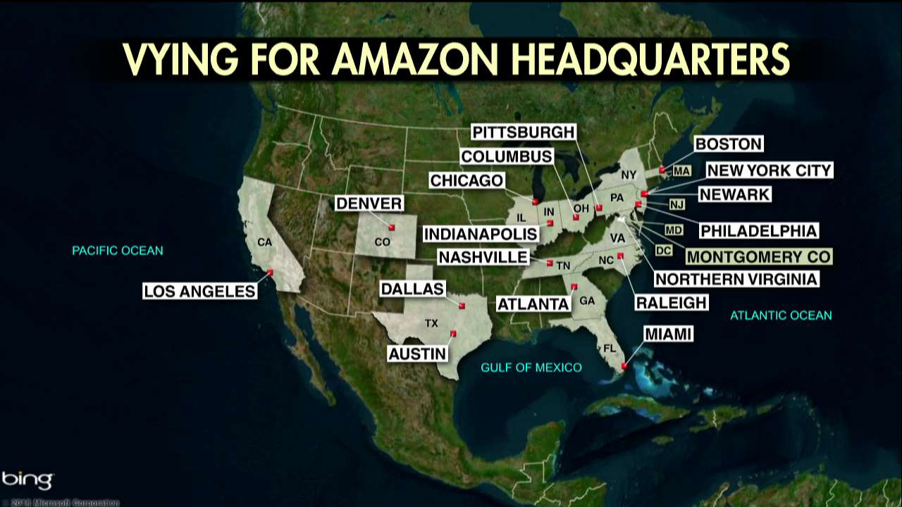 Cities vying for the @amazon headquarters. @TeamCavuto https://t.co/p7WsOV9laY