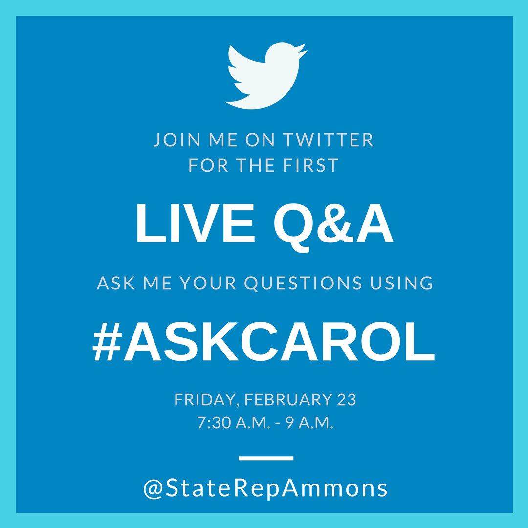test Twitter Media - For this month's Coffee with Carol, I will be having my first Live Q&A via Twitter! I will be responding to tweets live during the event tomorrow at Cafe Kopi from 7:30 AM to 9AM. Use the hashtag #askcarol or tweet your questions to @StateRepAmmons before 7:30 AM tomorrow! https://t.co/Jqsj9ux8Z0