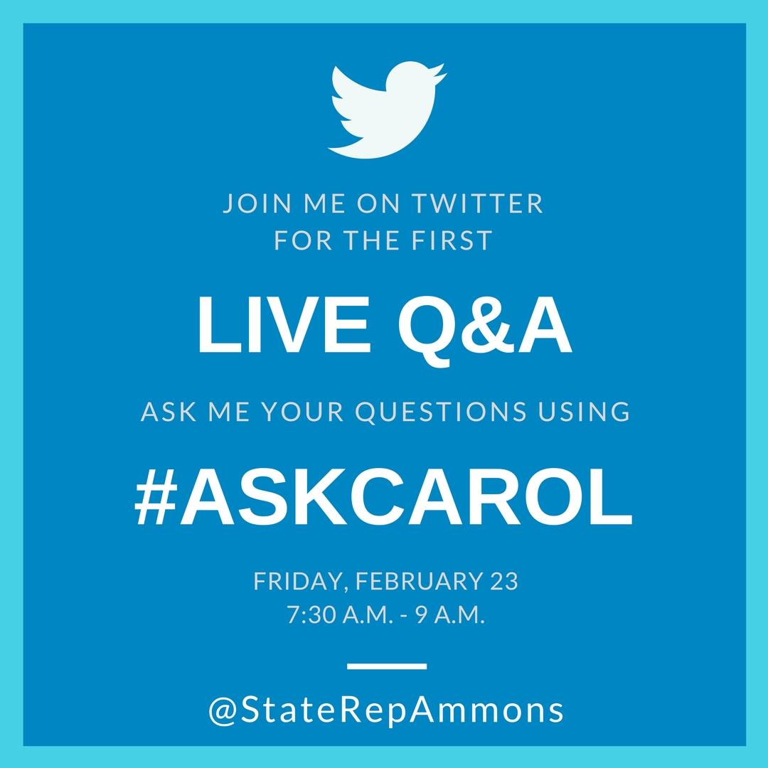 test Twitter Media - For this month's Coffee with Carol, I will be having my first Live Q&A via Twitter! I will be responding to tweets live during the event tomorrow at Cafe Kopi from 7:30 AM to 9AM. Use the hashtag #askcarol or tweet your questions to @StateRepAmmons between now and 9AM tomorrow. https://t.co/TOE5QTLWjL