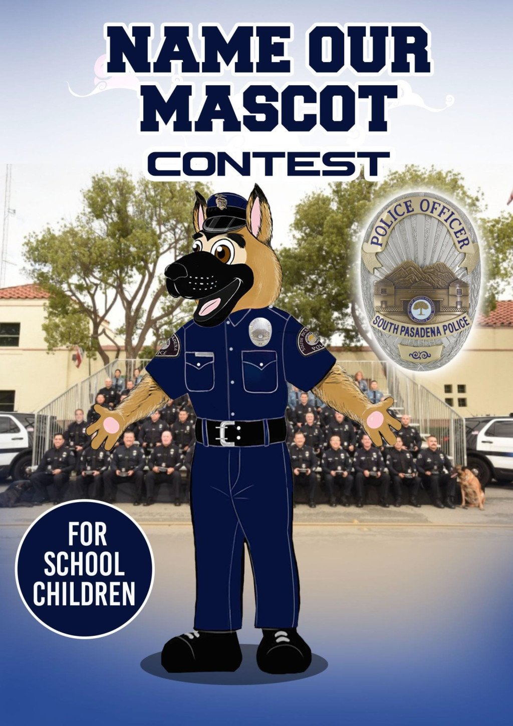 South Pasadena police are asking the city's students for help naming their new mascot https://t.co/Y0rnRQEGMq https://t.co/Ivh481QlTa