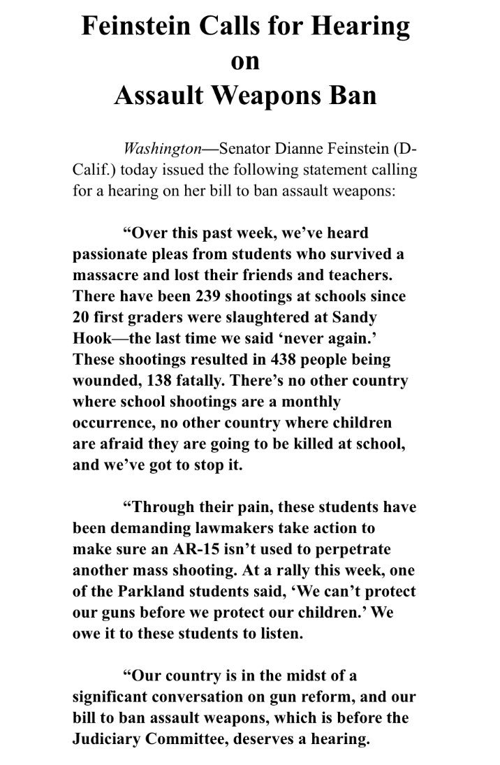 """Dianne Feinstein is calling for a hearing on her bill to ban assault weapons: """"We deserve a hearing."""" https://t.co/UuTII2gMix"""