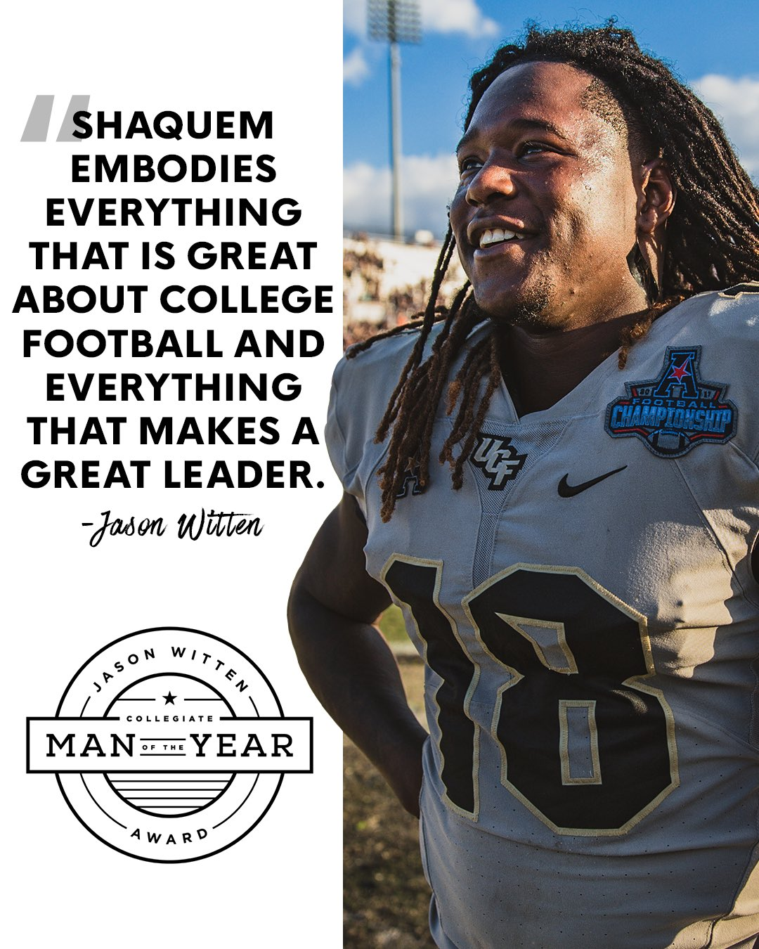 Your @JasonWitten Collegiate Man of the Year: @Shaquemgriffin!  #BuiltByUCF https://t.co/IFP3yAvUg8