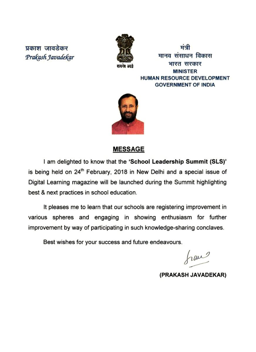 test Twitter Media - Hon'ble Minister @PrakashJavdekar, @HRDMinistry acknowledges the enthusiasm of India's schools for improvement while conveying wishes for the #SLS2018 New Delhi tomorrow.  @CBSEWorld @RyanIntlGrp @SanfortSchools @amolarora @GEMSEducation @RyanIntlGrp @Manjula_Pooja @swarup58 https://t.co/m0zzTCM16O