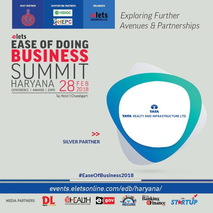 test Twitter Media - Elets Ease of Doing Business Summit - Haryana welcomes TATA Realty & Infrastructure Limited as Silver Partner  Visit: https://t.co/AFZVv0uTyw #events #conference #EaseOfBusiness2018 @cmohry  @Industrieshry @DIPPGOI https://t.co/ANaeovXFwB