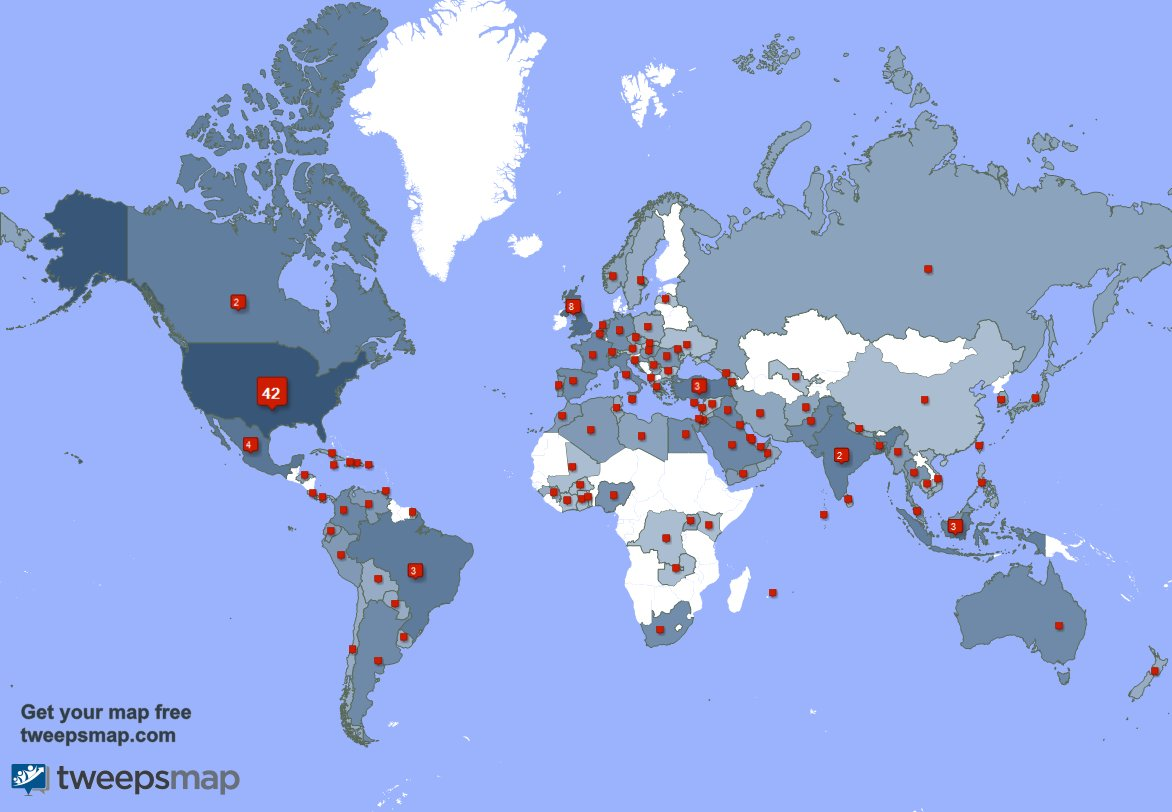 My followers live in USA (41%), UK.(8%)... Get your free map: IA7ukj9Bz1 c