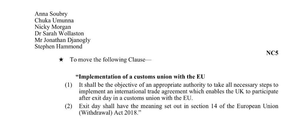 Protecting frictionless trade & peace in N Ireland are the main reasons for supporting #NC5 for a customs union. https://t.co/CFNfVKNvgd