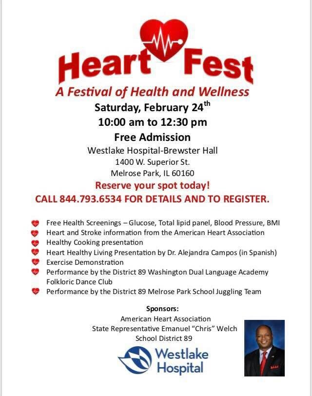 test Twitter Media - Heart Fest is tomorrow!  Join me, Westlake Hospital, and Maywood School District 89 for a Festival of Health and Wellness.  FREE resources and health fair, cooking demonstration, exercises and more.  The event runs from 10am to 12:30pm at Westlake Hospital in Melrose Park. https://t.co/Urh9sJriK8