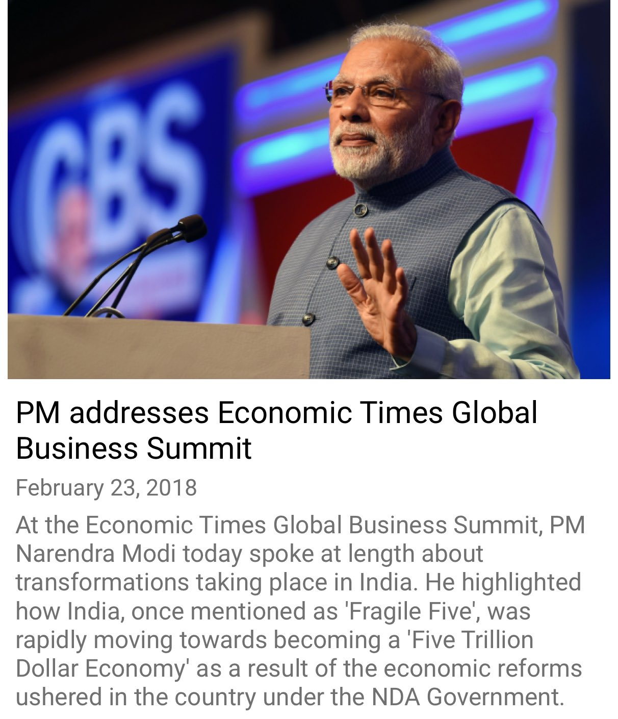 PM addresses Economic Times Global Business Summit https://t.co/77JyMYJRjy  via NMApp https://t.co/VszRx0R6AQ