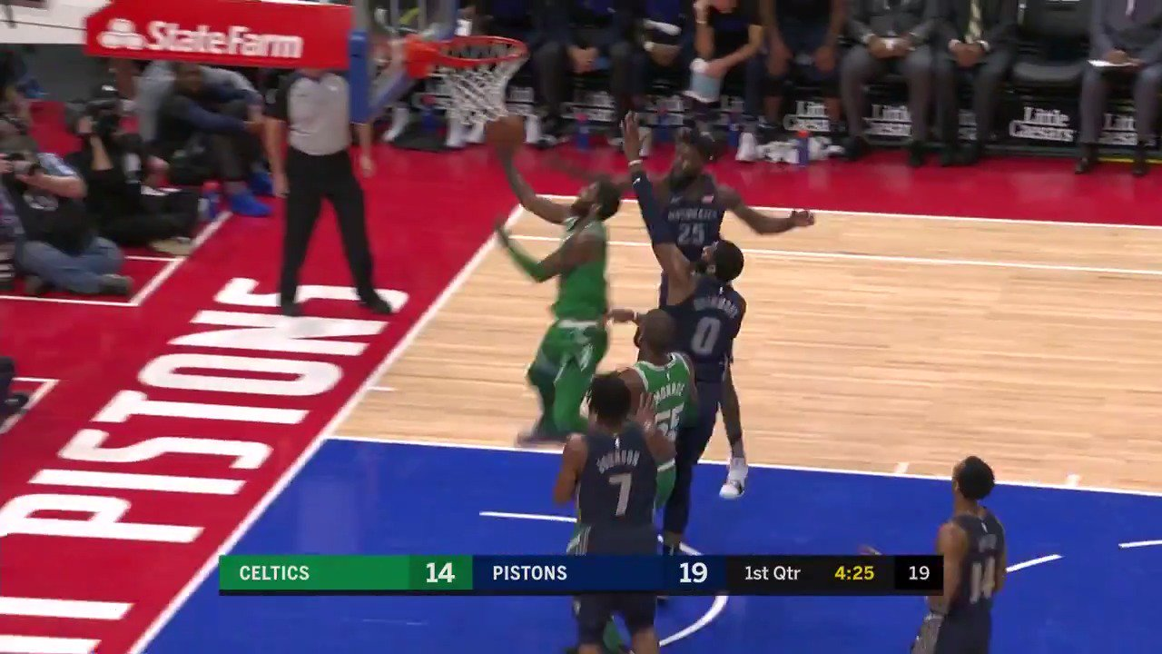 Kyrie Irving crosses and spins it off the glass! #Celtics https://t.co/V6tIqKpttb