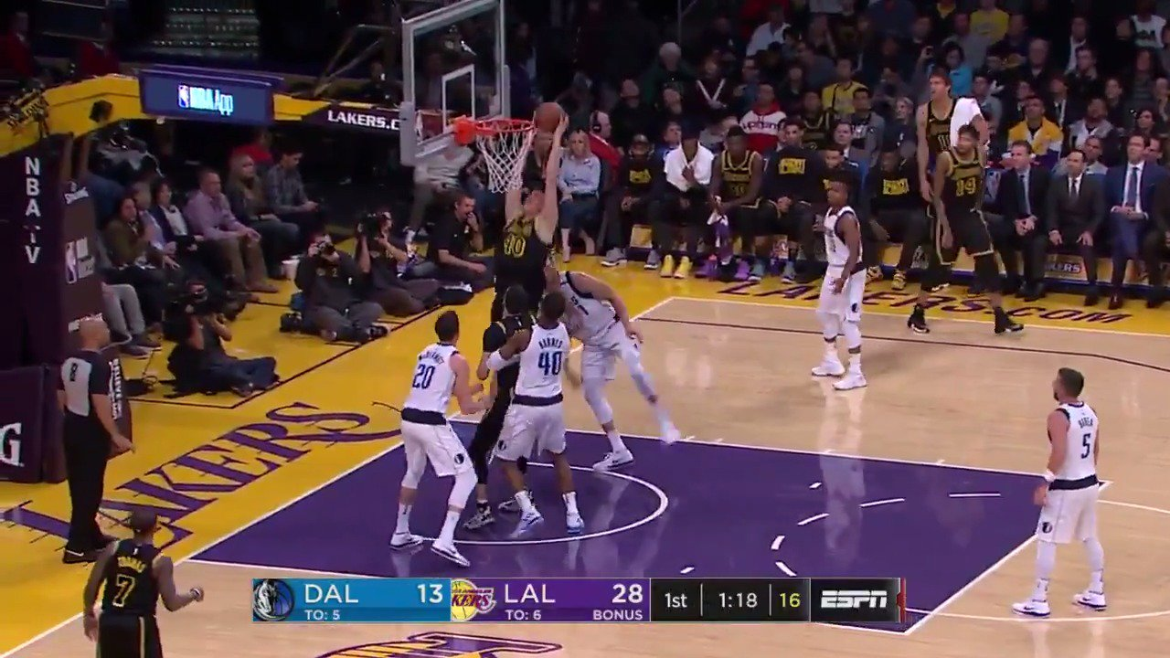 Lonzo drops it off to Zubac for the flush!  After 1: #LakeShow 32 / #MFFL 17  ��: @ESPNNBA https://t.co/KTRsTZMExV