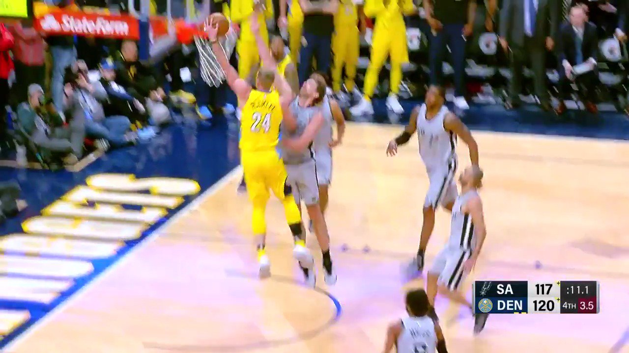 Mason Plumlee put the exclamation point on the @nuggets win! #MIleHighBasketball https://t.co/fcBcD7MAmq