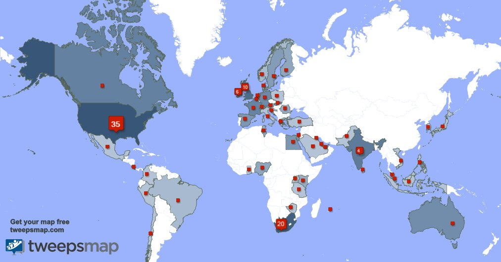 My followers live in USA (34%), South Africa(19%)... Get your map: https://t.co/AF73mXw8xU https://t.co/jYarYo1shp