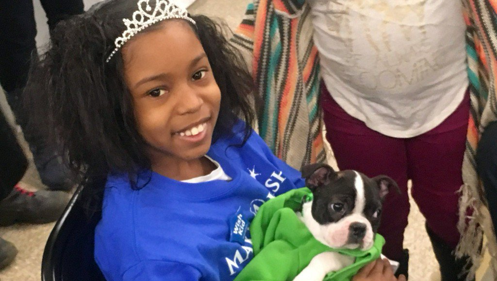 Portland girl with sickle cell anemia gets dream puppy through Make-A-Wish