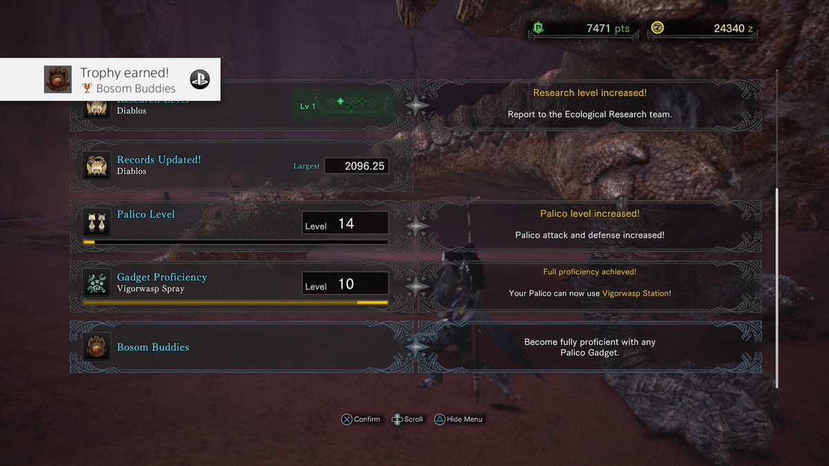1 pic. Monster Hunter: World Bosom Buddies (Bronze) Become fully proficient with any Palico Gadget. #PS4share
