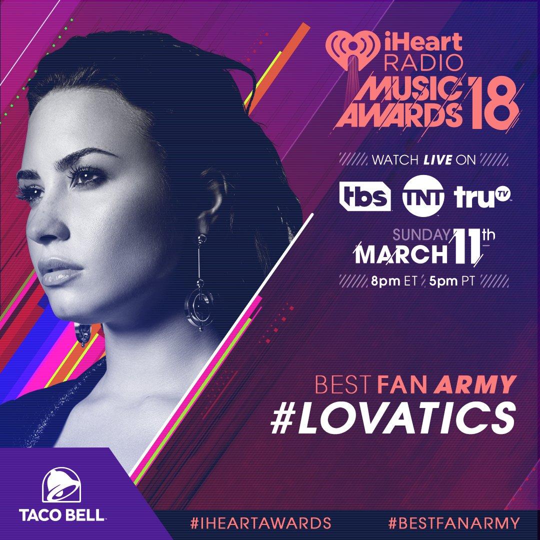 RT @iHeartRadio: RT to vote for the #Lovatics for #BestFanArmy! Voting is still open! #iHeartAwards https://t.co/Wo2U2JrvYG