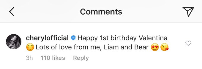 March 10, 2018 Cheryl saying happy birthday from her, Liam and Bear to Rochelle Humes\ baby on Instagram