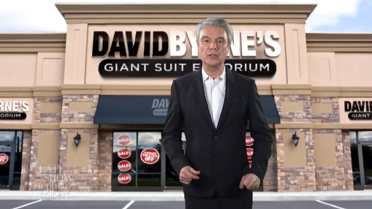 Watch David Byrne's Giant Suit Emporium commercial and performance with Stephen Colbert https://t.co/2ghs4RPaF5 https://t.co/dVRmR685SK