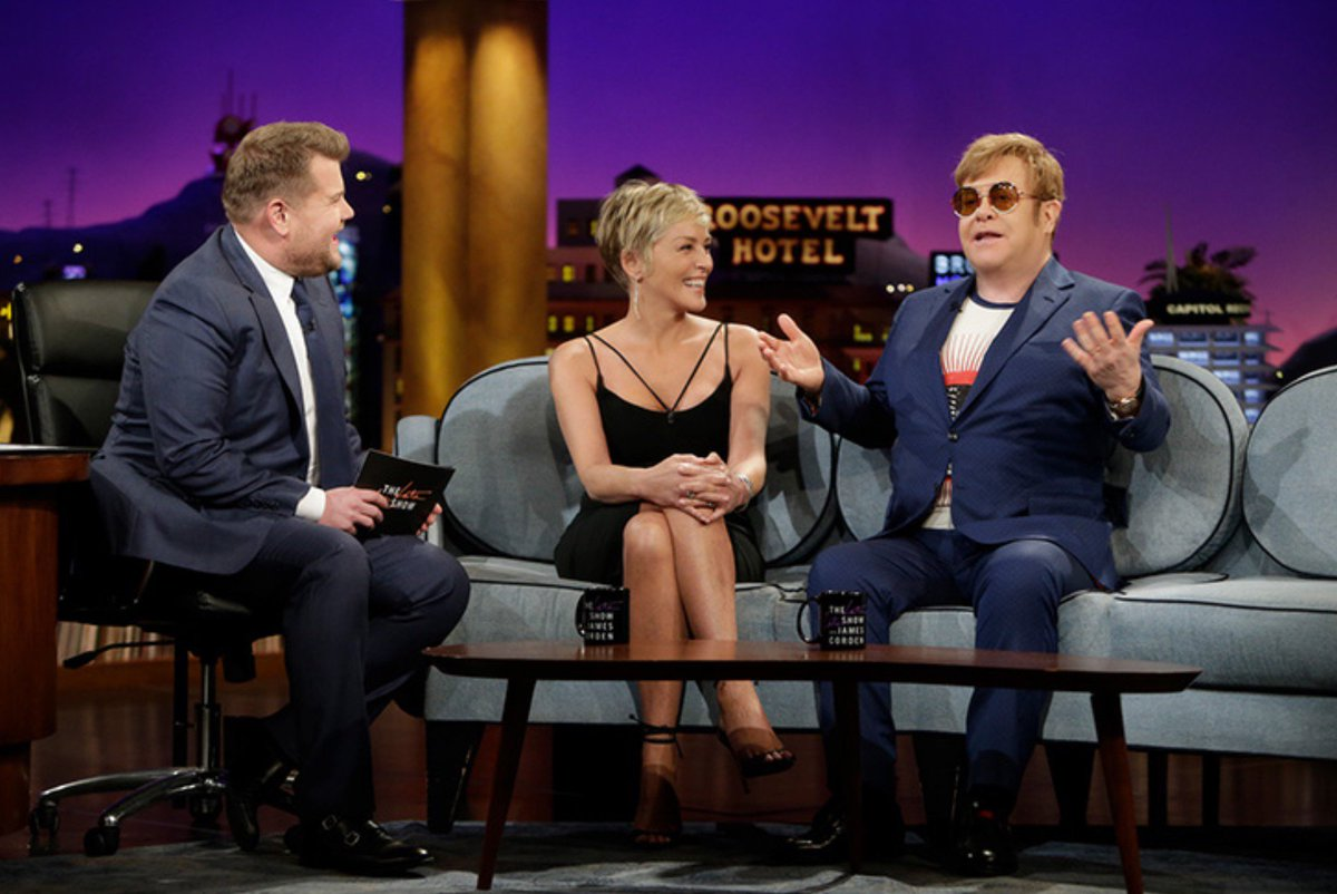 Fun tonight on the couch with @eltonofficial and @JKCorden.❤️  @latelateshow - @alliwishmovie opens March 3oth. https://t.co/x8jrqFOAzw
