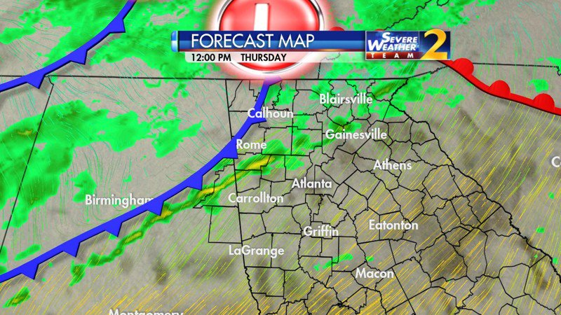 Patchy rain now,  storms and gusty winds later