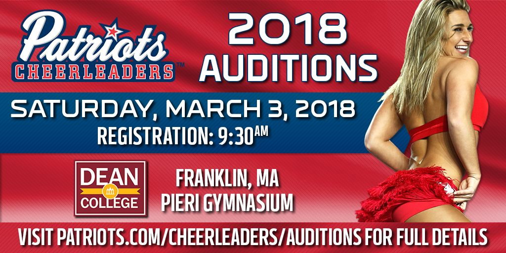 Join our squad in 2018!  @PatsCheer is holding open auditions this Saturday. Details: https://t.co/zO54uYnbMj https://t.co/RMnsSK3ucB