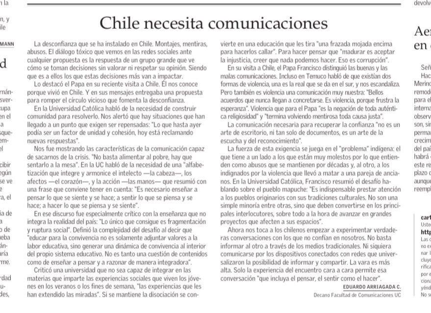 Chile necesita comunicaciones, Por Eduardo Arriagada. (@earriagada) https://t.co/BFN7tWuZbY