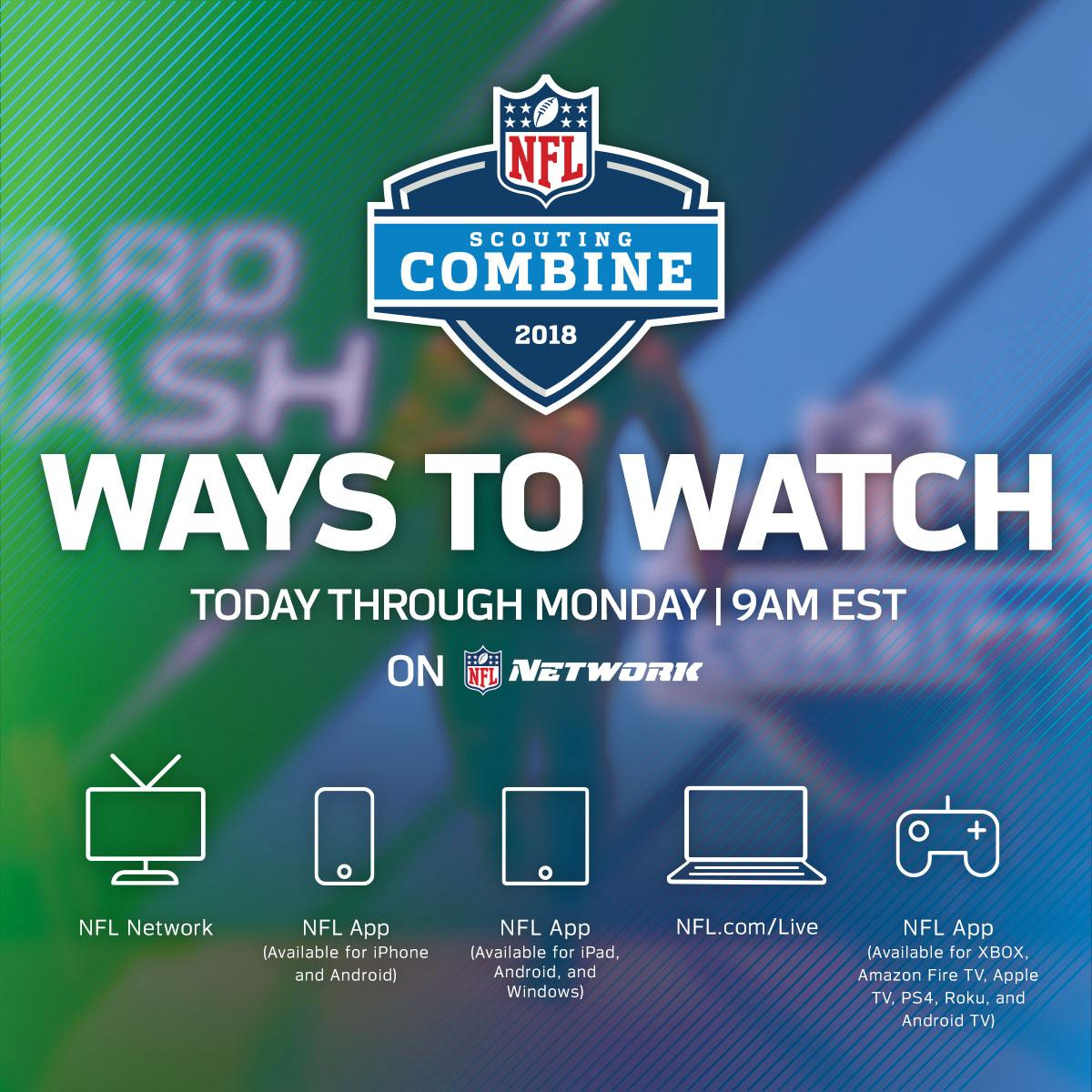 Day 1 of the #NFLCombine starts NOW!  Here's how you can watch: https://t.co/n835JZMk2h https://t.co/CHy9JSn4OZ