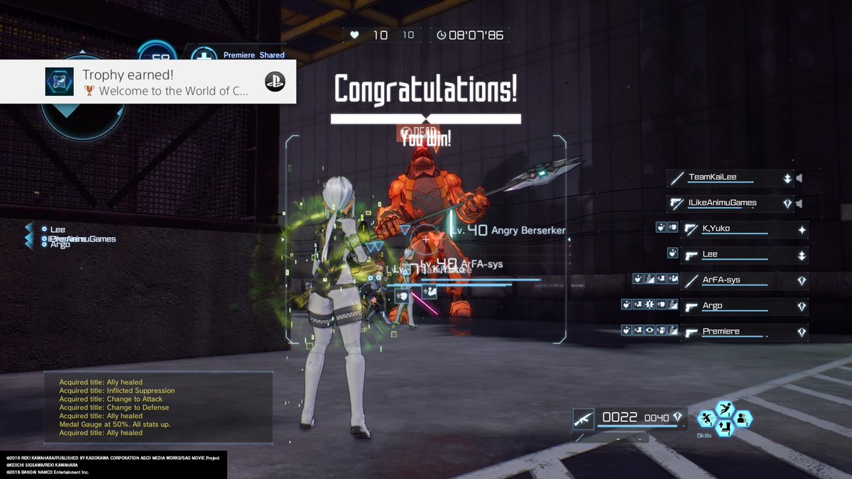 1 pic. SWORD ART ONLINE: FATAL BULLET Welcome to the World of Co-op (Bronze) Participate in an online