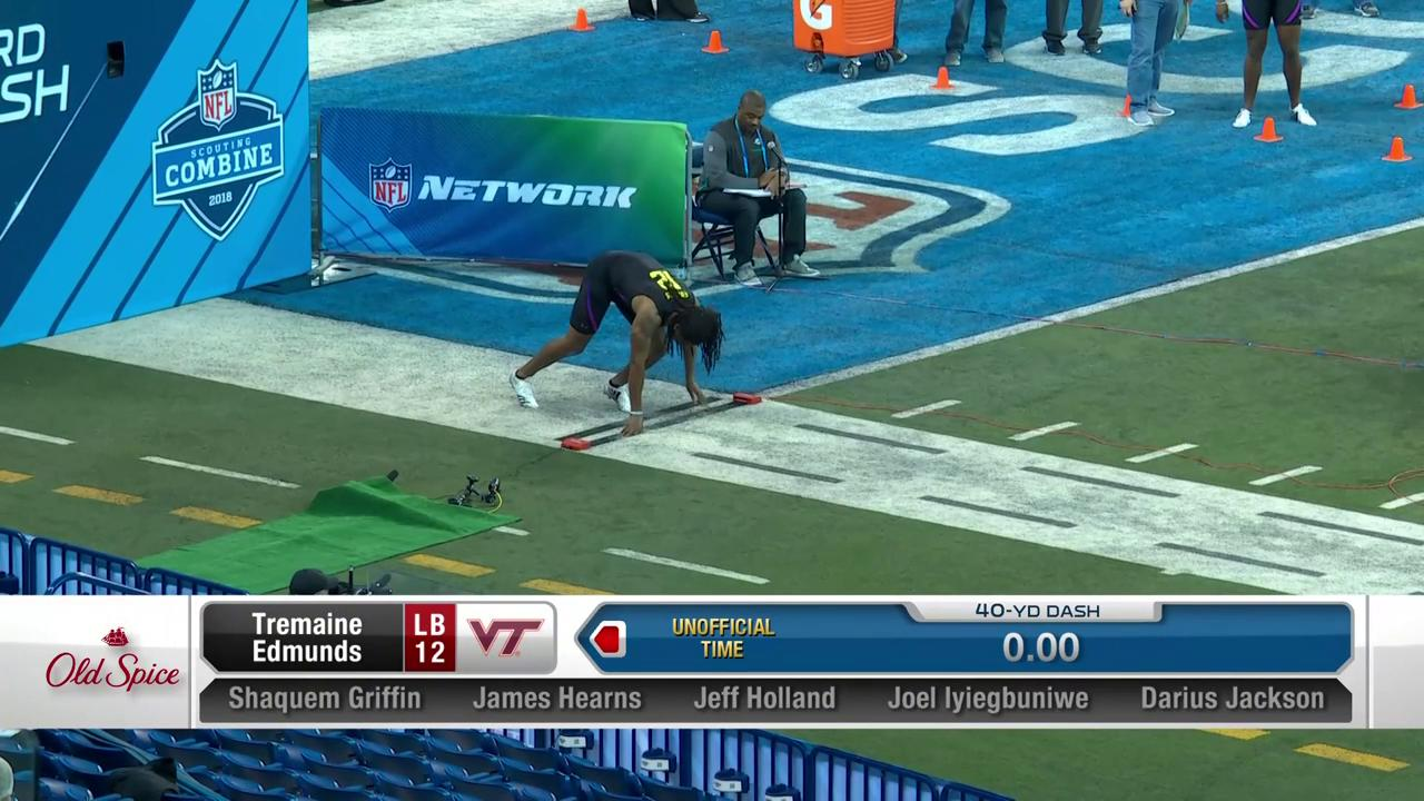 Virginia Tech LB Tremaine Edmunds posted a 4.55u 40-yard dash today.  ��: @NFLNetwork #NFLCombine https://t.co/xgTxmaoF5m