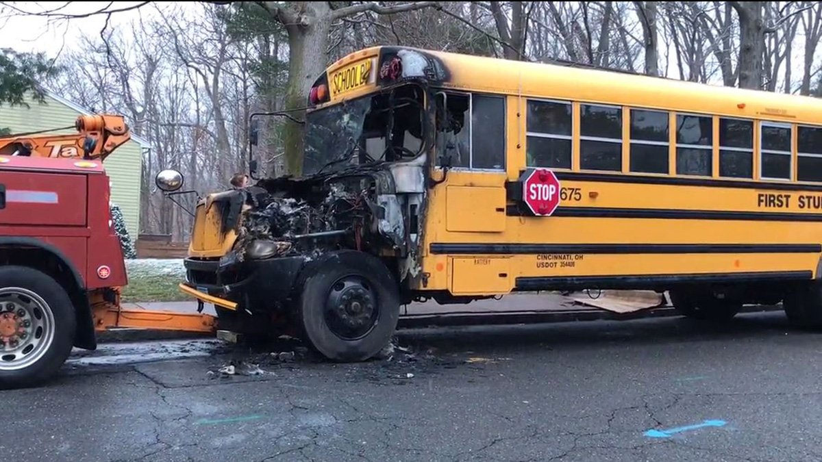 No Injuries Reported After School Bus Catches Fire in Manchester