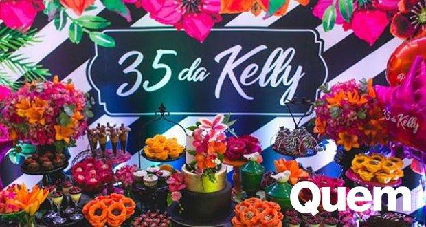 Mostra Detalhes. Foto do site da Quem Acontece que mostra Filha de Kelly Key mostra os detalhes da festa para celebrar 35 anos da mãe