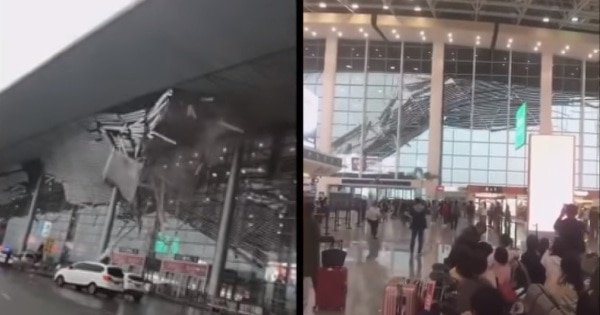 Strong winds rip off airport roof in China; passengers flee
