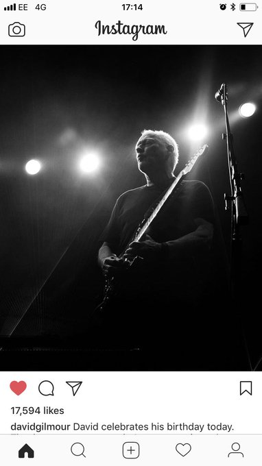 An Epic pic of a legend that is David Gilmour!!! Once again Happy BDay!!