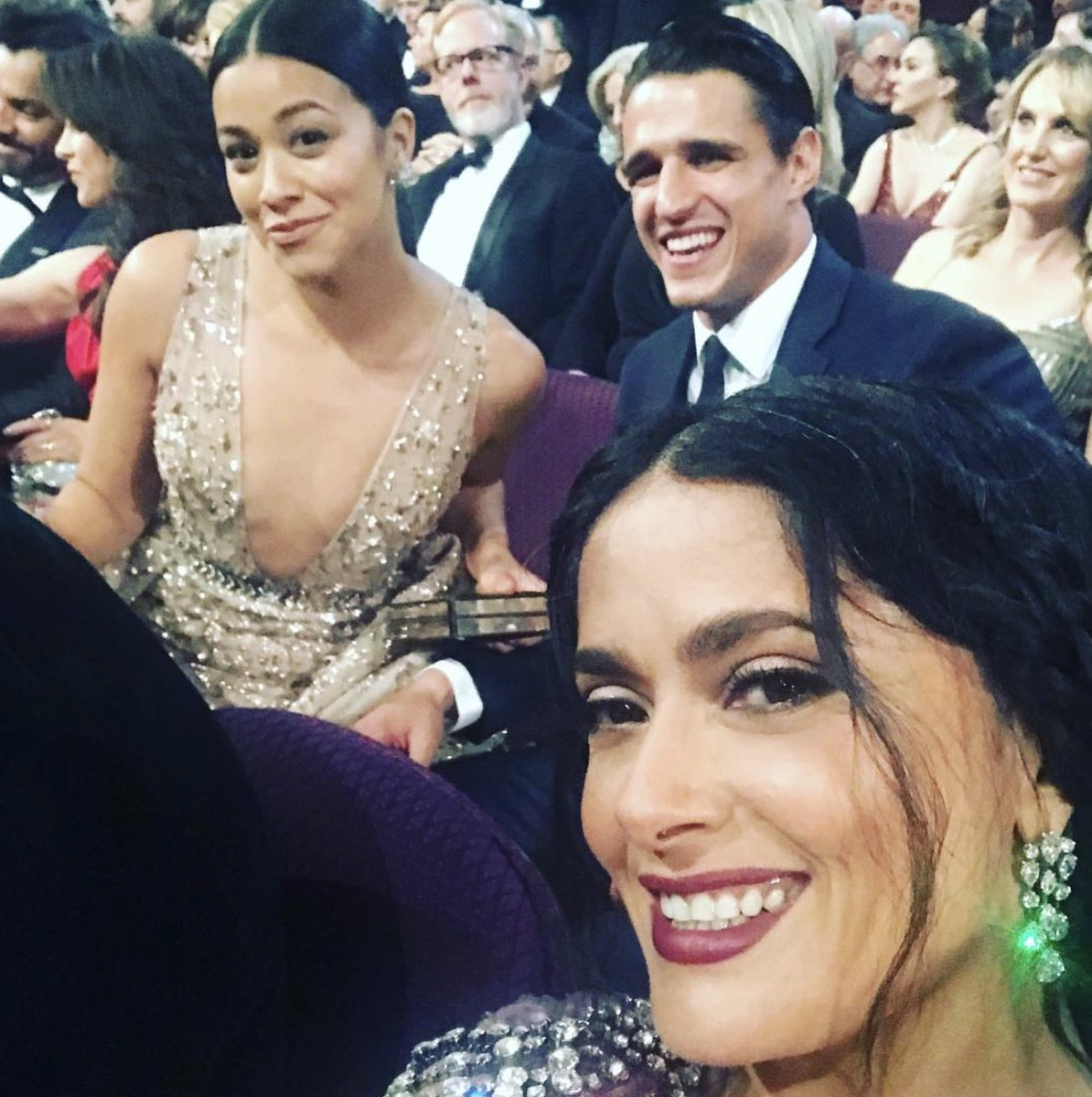 If you ask Salma Hayek, she had the best seat at the Oscars: