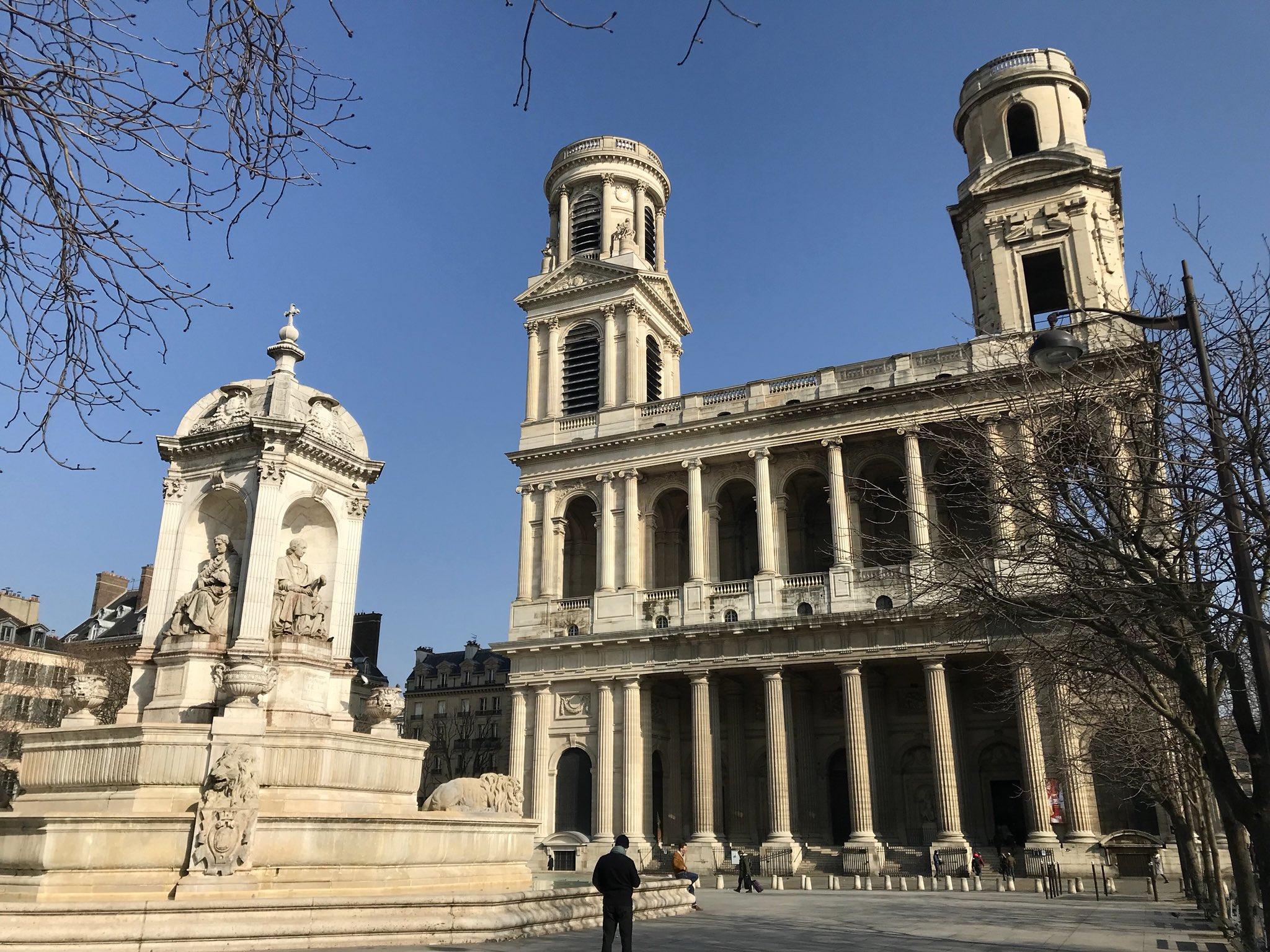 Eglise Saint-Sulpice #paris 🇫🇷 et fontaine de 1848 #MagnifiqueFrance #francemagique https://t.co/iA7zDCeBJq