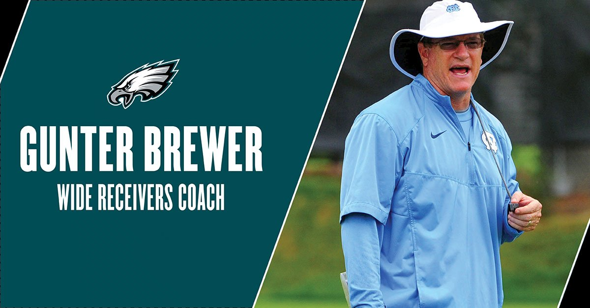 Gunter Brewer has been hired as #Eagles wide receivers coach.  #FlyEaglesFly https://t.co/9x5DvqpJ4Z
