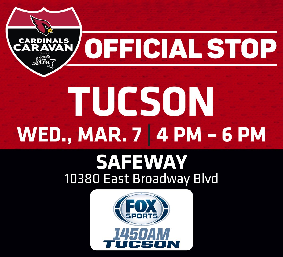 The Cardinals Caravan presented by @AZLottery is in Tucson today. https://t.co/Cci5dVbrl7
