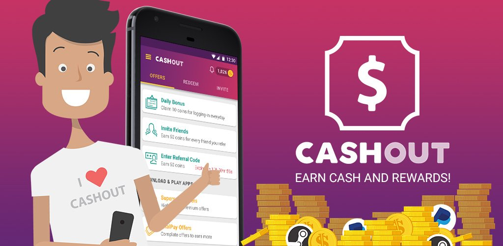 Download CashOut to earn cash and gift cards. Enter Referral Code EU3HQJLR to win 50 Coins!