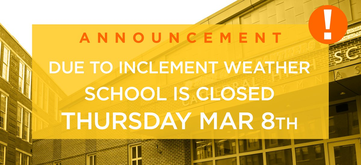 test Twitter Media - Due to the Boston #Thundersnow, Cathedral High School is closed for tomorrow, Thursday March 8th, 2018. Please be safe. https://t.co/Mys59N3Eae