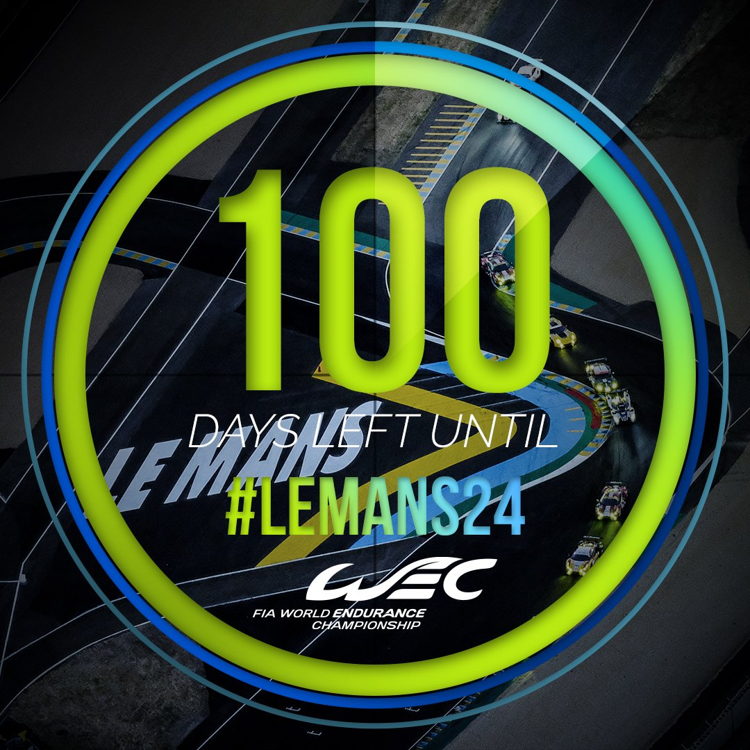 RT @FIAWEC: In 100 days, the 86th Edition of @24hoursoflemans Race starts!   #WEC #LeMans24 https://t.co/TtH4WmZjon