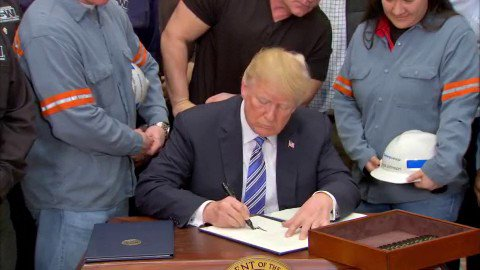 JUST IN: President Trump signs orders for 25% tariffs on steel and 10% tariffs on aluminum. https://t.co/zEp77yqMdF