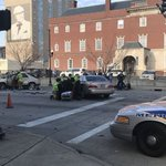 5 people hurt in 2 car crash downtownincluding a pedestrian