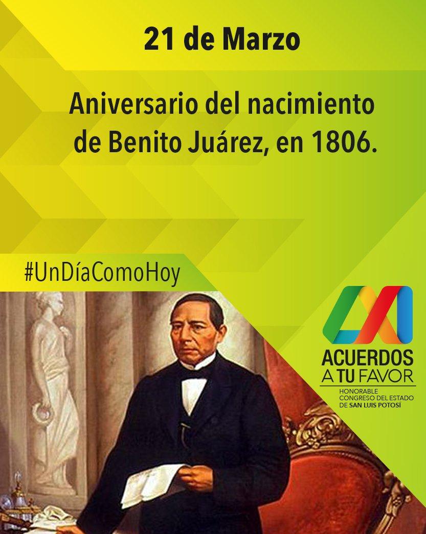 RT @CongresoEdoSLP: #FelizMiércoles #UnDíaComoHoy Aniversario del nacimiento de #BenitoJuárez  en 1806 https://t.co/IHRKxCrGib