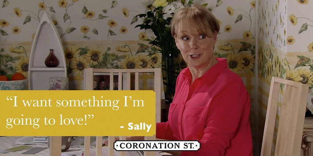 What kind of wallpaper should Sally choose? 🤔 #Corrie #Sally #Tim