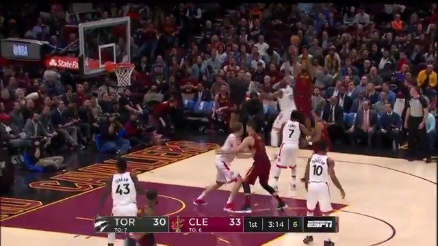 LeBron cross court to JR! ������  @cavs are 5-6 from beyond the arc on ESPN ��  #AllForOne https://t.co/PLcjDPGN0p