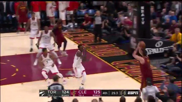 'Closing time Kevin!'  Love with the big triple to extend the @cavs lead!  #AllForOne https://t.co/Rmen0MlyS6
